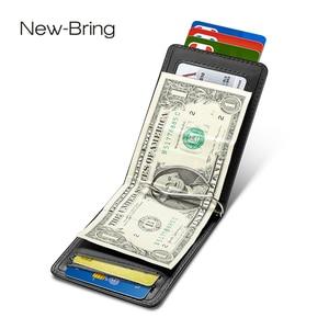 Image 1 - NewBring kart durumda siyah inek deri cüzdan para klip RFID blok sürücü lisans nakit OrganizerMen iş kredi kartı sahibi