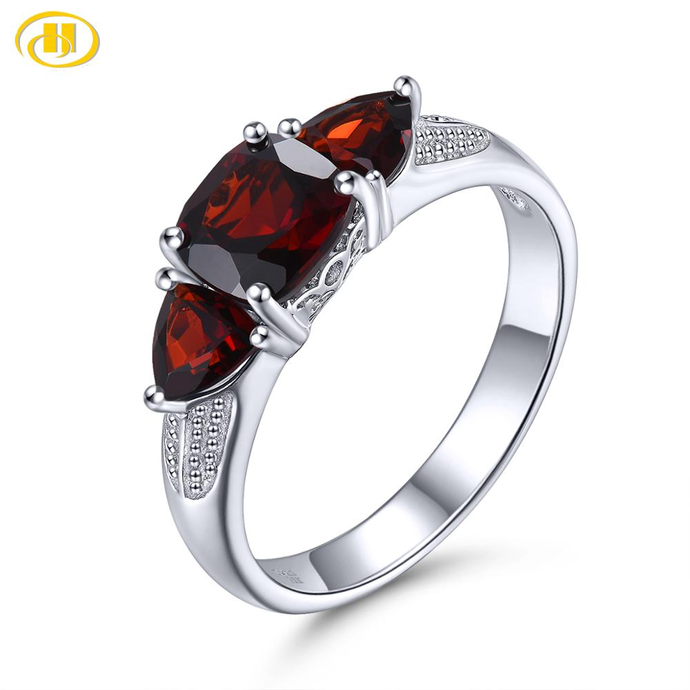 Hutang Mozambique Garnet 925 Silver Ring Natural Red Gemstone Solid 925 Sterling Silver Vintage Rings Fine Elegant Jewelry