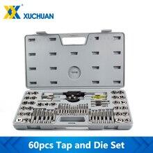 60Pcs Tap And DieชุดเมตริกและอิมพีเรียลTap DieชุดประแจHand Tappingเครื่องมือสกรูเจาะชุด