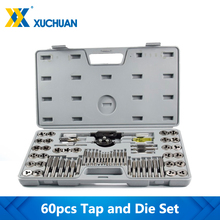 60pcs Tap and Die Set Metric and Imperial Thread Tap Die Wrench  Kit Hand Tapping Tools Screw Tap Drill Set