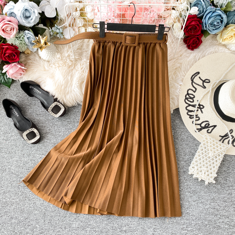 Summer Women Fashion Retro Pleated Skirts Female Long Skirt 2020 Fashion High Waist Skirt With Belt Casual Midi Skirts Womens