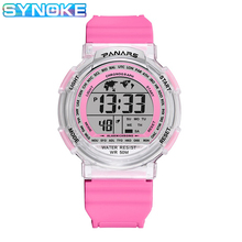 SYNOKE Girls Watches Kids Colorful Light Plastic Repeater Shock Resistant Back Light Stop Watch Plstic Boys Digital Watch