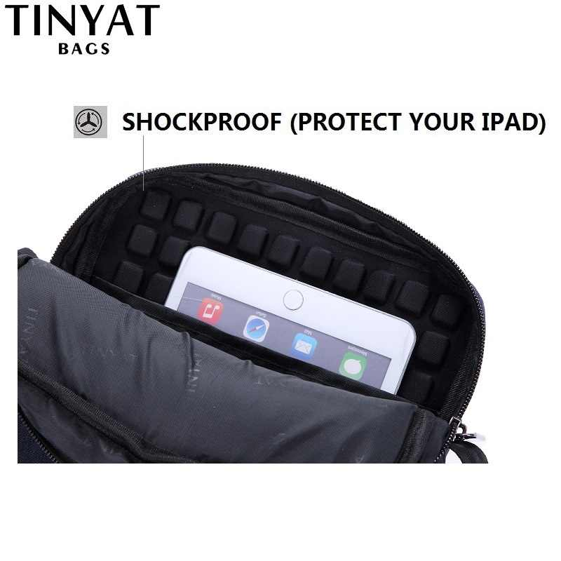 Tinyat sacos de lona luz bolsa de ombro para 7.9 ipad ipad casual crossbody sacos de negócios à prova dwaterproof água bolsa de ombro para homem