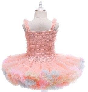 Платье-пачка для девочек, нарядное розовое платье на день рождения, детская одежда для крещения