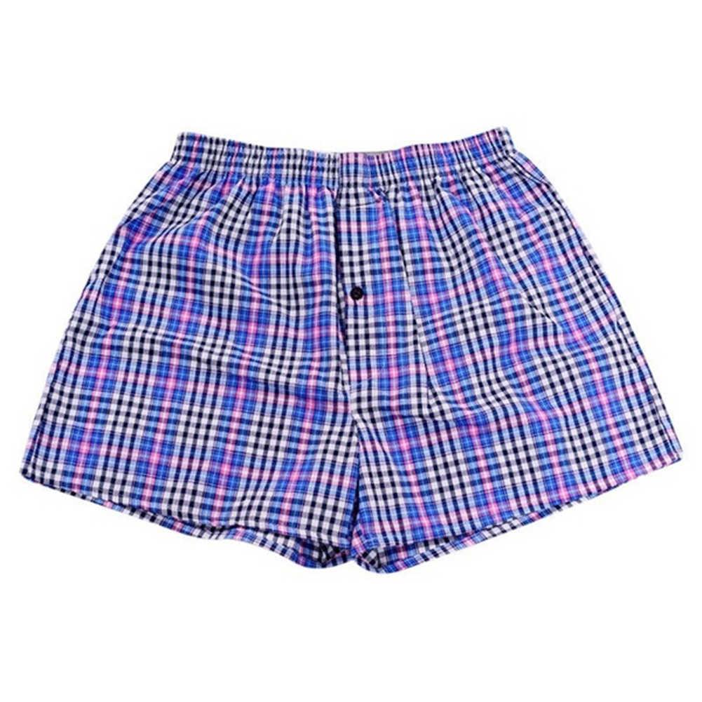 1 Pza hombres de algodón flecha boxeadores Casual Plaid estampado cintura elástica ropa interior verano suelto transpirable playa pantalones boxeadores pantalones cortos