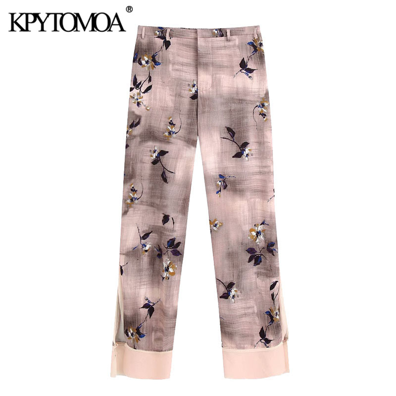 KPYTOMOA Women 2020 Chic Fashion Frayed Trim Printed Pants Vintage Elastic Waist Buttons Fly Female Trousers Pantalones Mujer