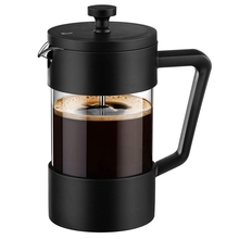 French Press Coffee & Tea Maker 12Oz, Thickened Borosilicate Glass Coffee Press Rust-Free and Dishwasher Safe,Black