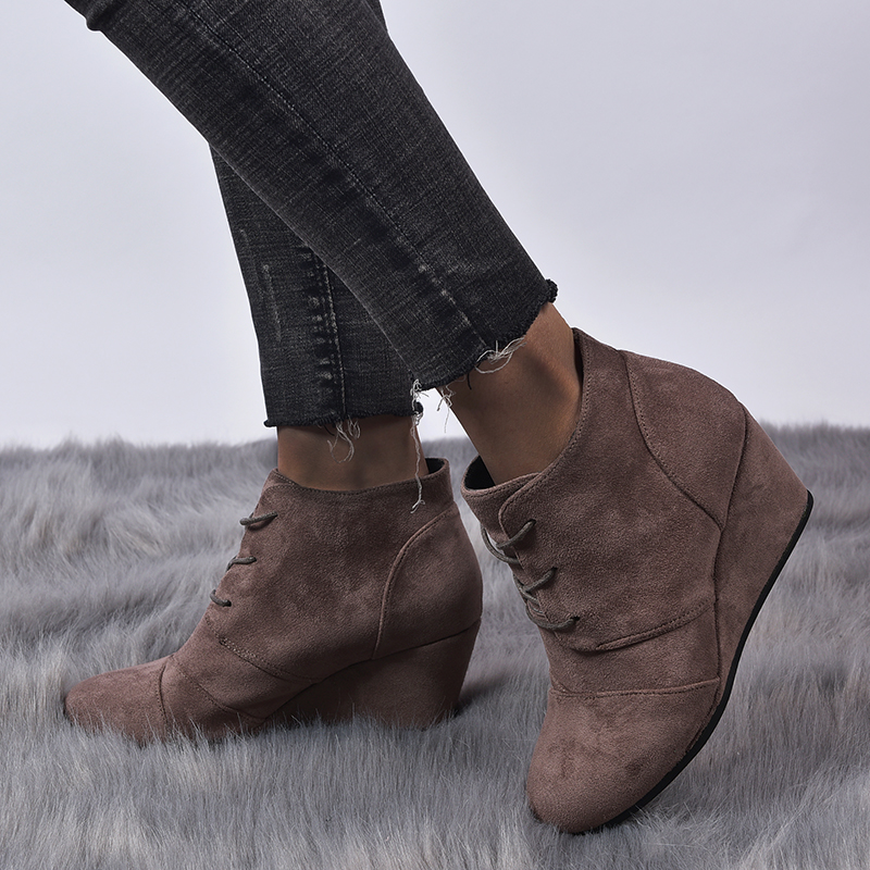 GOXPACER Flock Boots Women Lacing Inner Heel Shoes Women Suede Leather Height Increasing Wedge Plus Size Solid Free Shipping