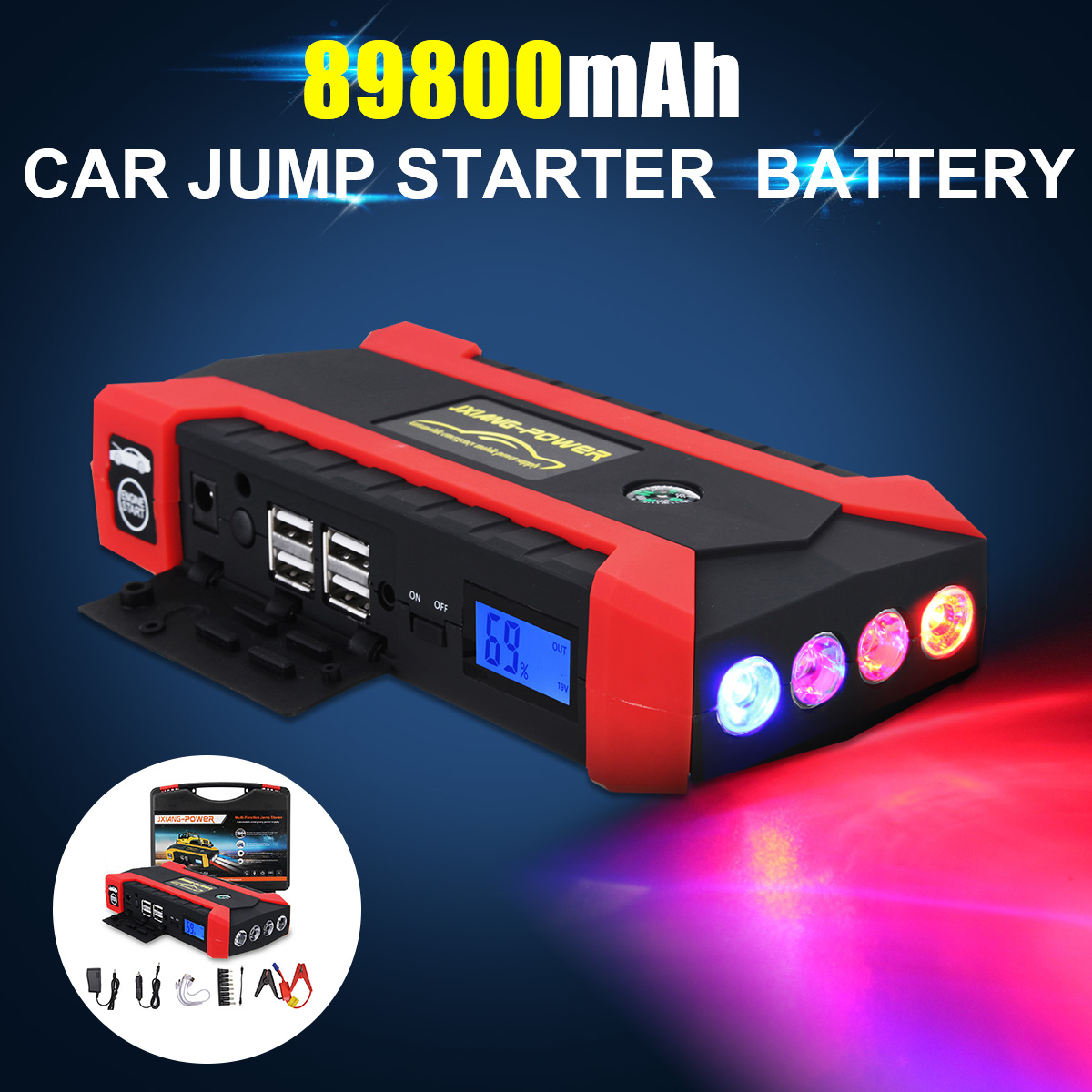 89800 MAh 12V 4 USB High Capacity Car Jump Starter LED Light Mutifuction Portable Car Battery Booster Charger Power Bank