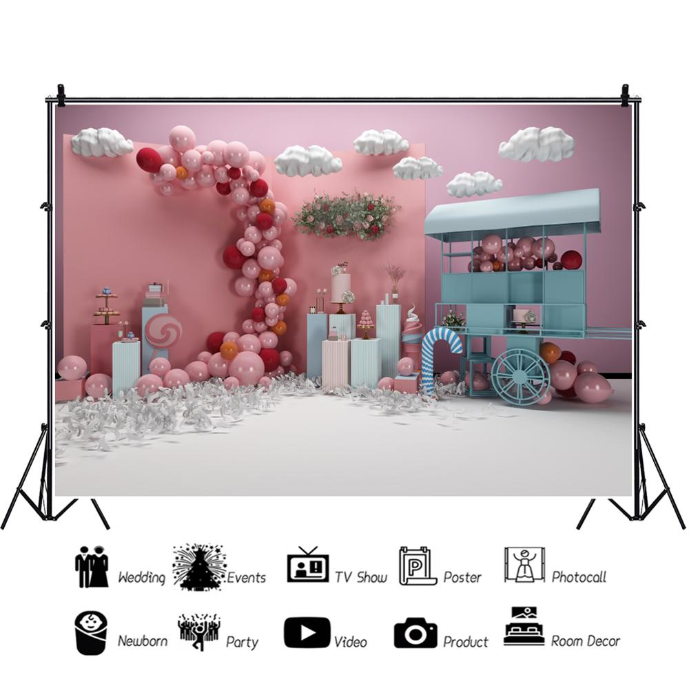 Laeacco Candy Cart Balloons Cloud Pink Baby Shower Photo Backdrops Birthday Portrait Photography Backgrounds For Photo Studio