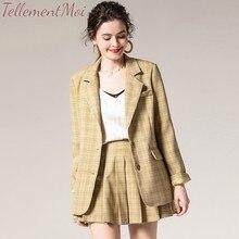 Fashion Two Pieces Set Women Skirt Suits Autumn Plaid Blazer Jacket Coat + Pleated Short Skirts 2 OL Sets Female Outfits