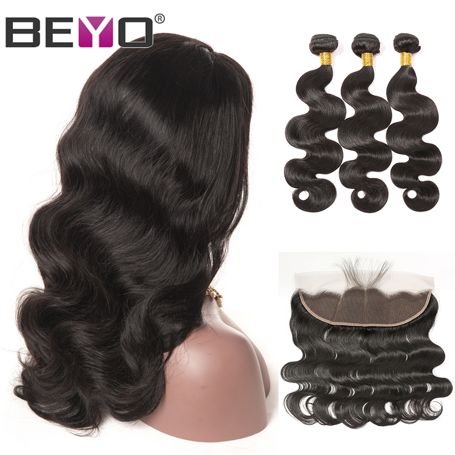 300%Density Brazilian Body Wave LaceFrontalWig13X4 Custom LaceWigs Remy HairBundlesWithFrontalBeyo Human Hair LaceWig