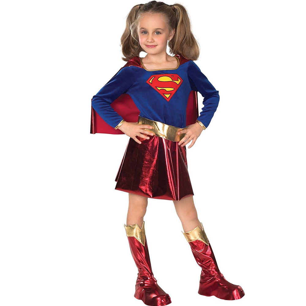 Kids Superhero Supergirl Cosplay Costume For Girls Halloween Carnival Superman Birthday Party Dress Up Christmas Gift