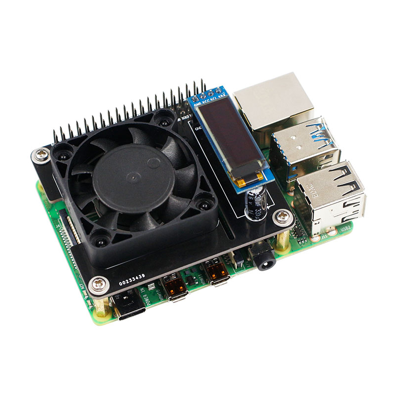 Raspberry Pi 4 Cooling Fan Intelligent Speed Control Expansion Board RGB Cooling HAT With OLED Display For Raspberry Pi 3B+/3B
