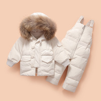 Winter Children Down Jacket Kids Clothing Sets Suits Baby Girl Boy Thick Warm Down Coats + Overalls Snowsuit Baby Girls Outfits