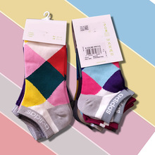 Colorful Cotton Socks lattice Pattern Mid Women Happy Novelty Skateboard Crew Casual Fashion