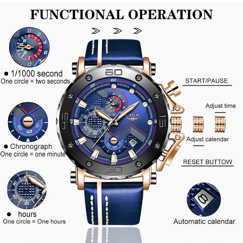 2020 LIGE Mens Watches Top Brand Luxury Fashion Military Quartz Watch Men Leather Waterproof Sport Chronograph Relogio Masculino 4