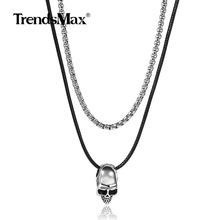 Long Layered Skull Charm Pendant Necklace stainless steel Box Link Chain Choker Punk Rapper Jewelry Leather Cord Necklace DN124(Hong Kong,China)