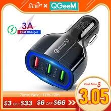 QGEEM cargador rápido para coche QC 3,0, 3 puertos, adaptador de carga para iPhone, Xiaomi Mi 9, Redmi