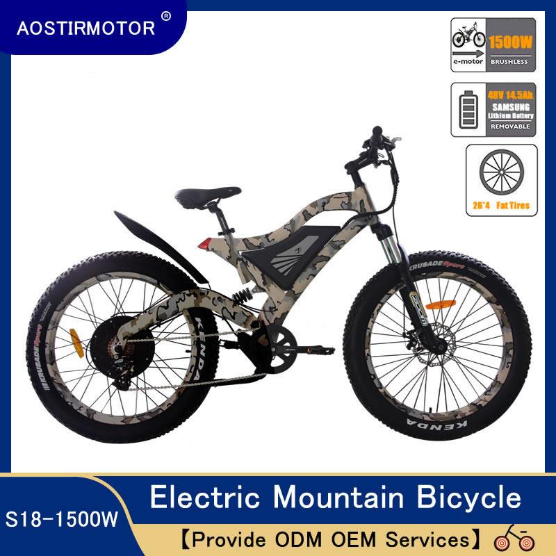 AOSTIRMOTOR Elektrische Mountainbike Fett Reifen Elektrische Fahrrad Strand Cruiser Schnee Bike 1500W E-Bike 48V 14,5 ah Lithium-Batterie