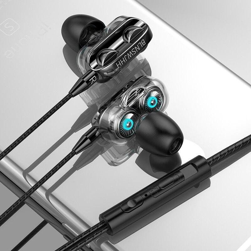 New in ear earphones popular private model dual speaker smart phone earphones remote tuning, anti sweat fitness headset