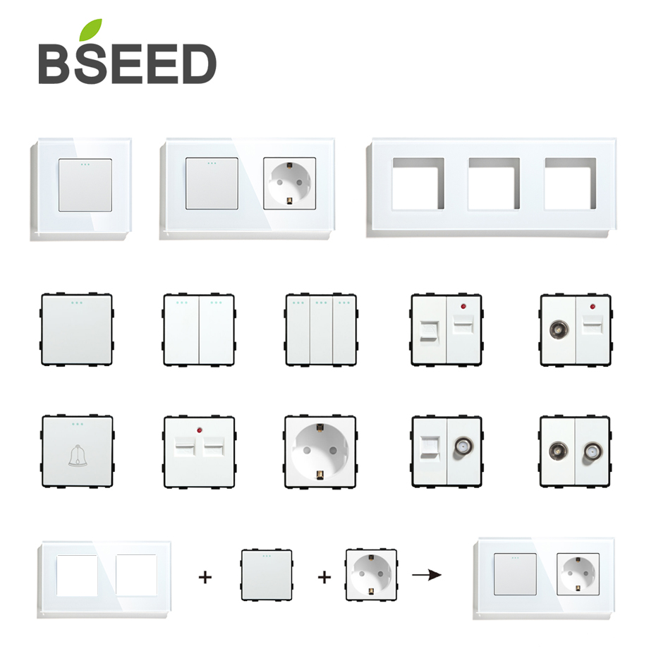 BSEED DIY UK EU Standard TV Satellite USB Socket Button Switch With Crystal Glass Frame Panel White Home Improvement
