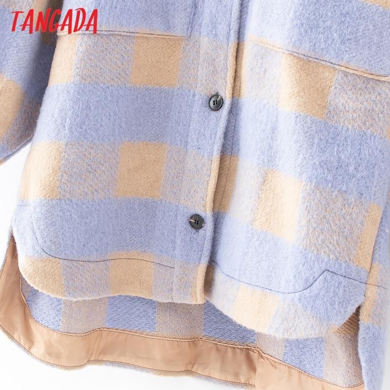 Hot DealsTangada Shirt Jacket Spring Oversized Purple Long Plus-Size Women Jacekt-Coat QJ101 Lattice