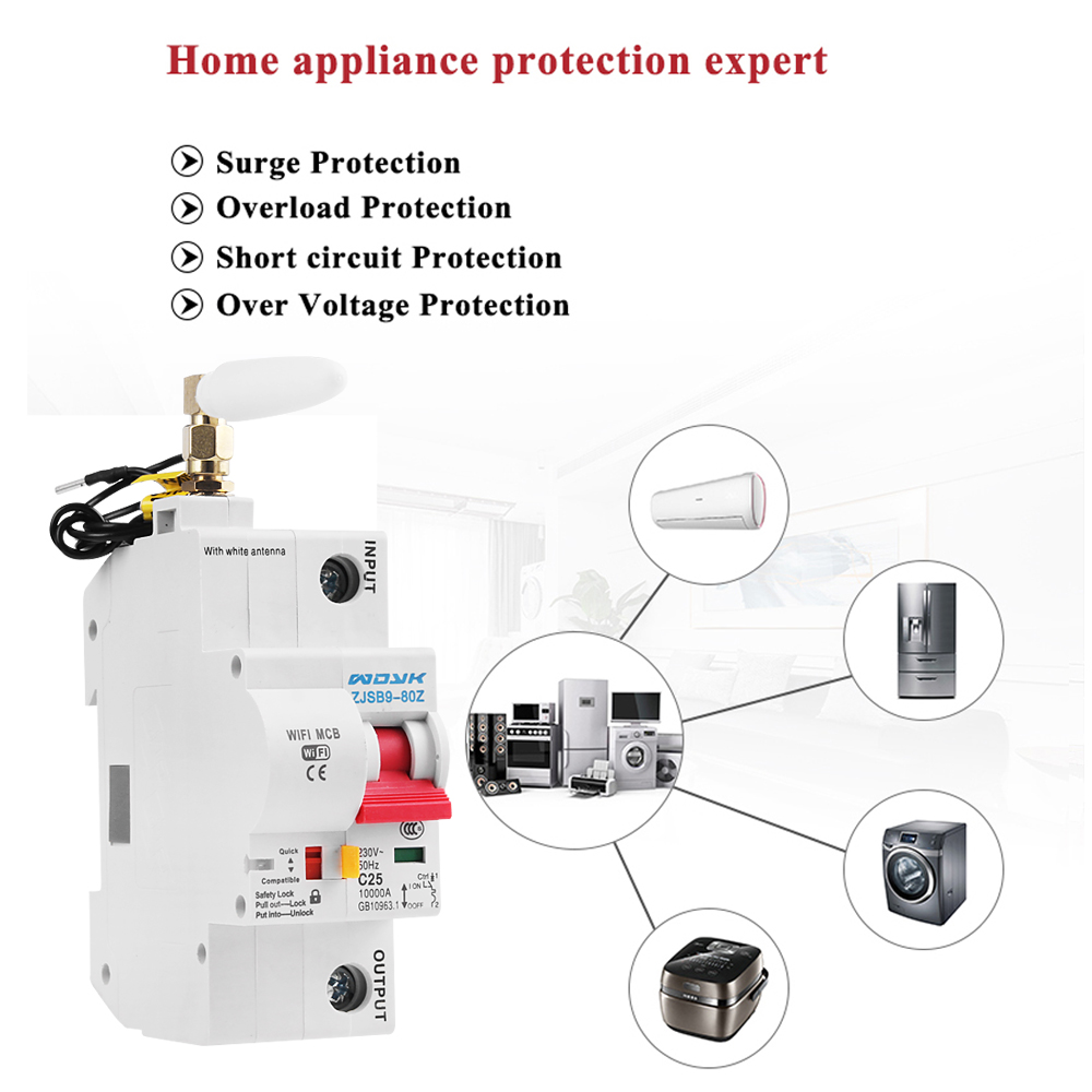 eWelink app 1P WiFi Smart Circuit Breaker overload short circuit protection with  Alexa google home for Smart Home