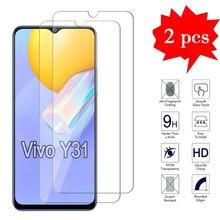 2-1 pces de vidro para vivo y31 2021 capa filme protetor de tela frontal do telefone para vivo y 31 9h 2.5d vidro temperado à prova de explosão