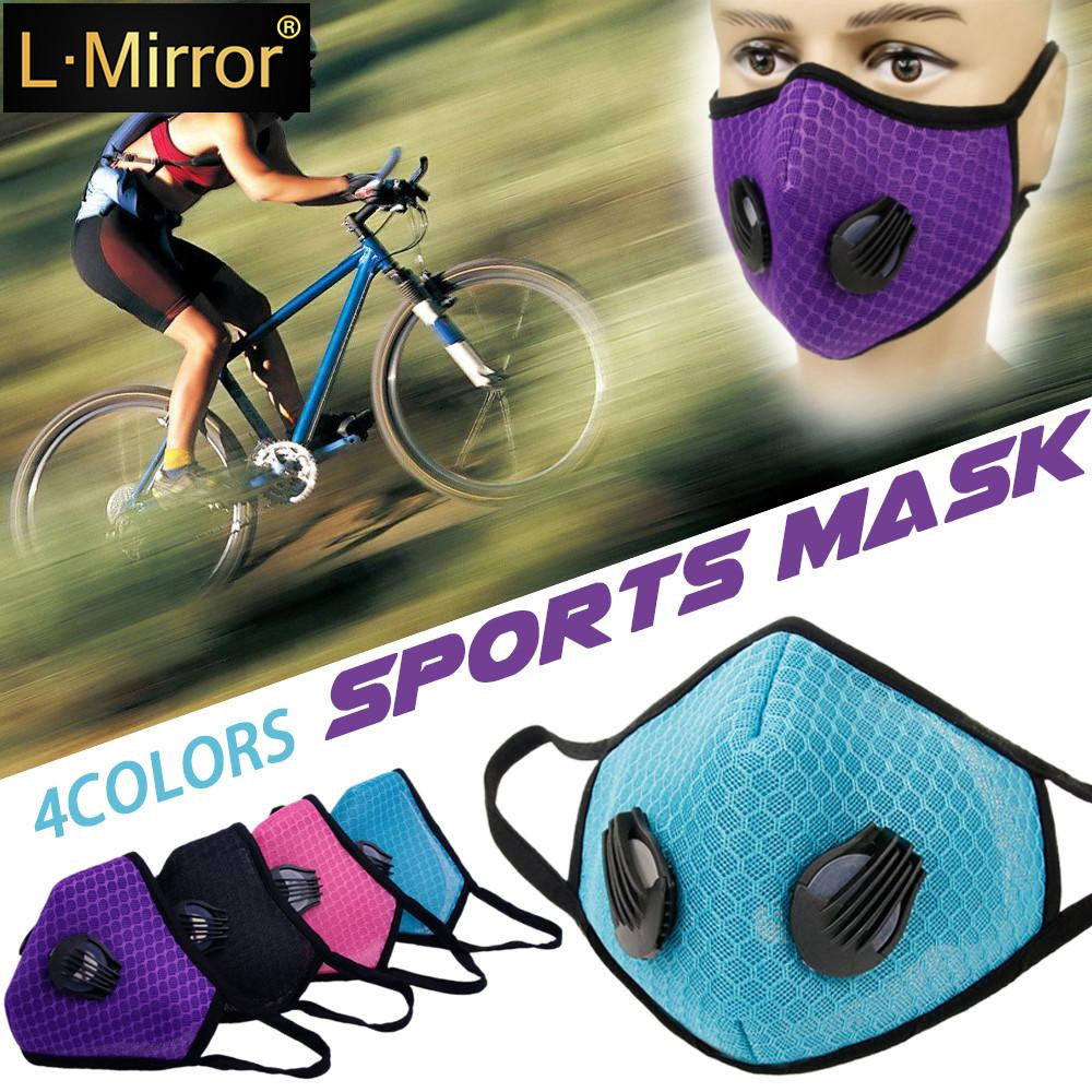 L.Mirror 1Pcs Fashion Respirator Mask With Breathing Valve Washable Gridding Mesh Activated Carbon Filter PM2.5 Mouth Masks
