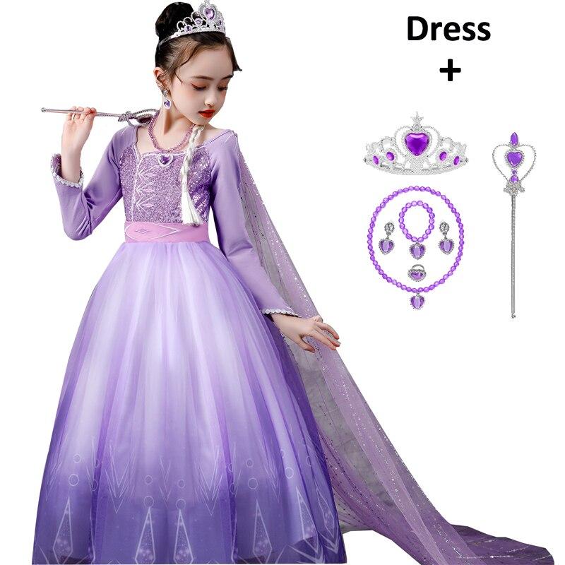 Gefrorene Elsa Kleid Schnee Königin 2 Mädchen Prinzessin Kleid Lila Langarm Weihnachten Karneval Kinder Cosplay Kostüm Hochzeit Kleid