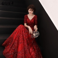 Red modern long section host annual meeting dress skirt winter wedding banquet toast clothing bride female back to engagement