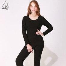 Maidy женское термобелье большого размера кальсоны с круглым вырезом Бесшовные женские зимние теплые комплекты из 2 предметов с длинными рукавами+ брюки