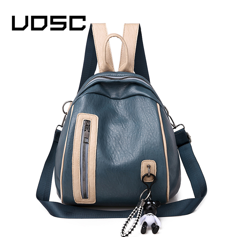 UOSC Women's Casual PU Leather Shoulder Bag Women's Patchwork Travel Backpack College Paneled Anti-theft School Backpack Bags