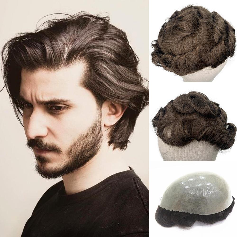 YY Wigs Man Toupee Wigs For Men Thin PU Skin PU #4 #1B Natural Brown Remy Human Hair 6