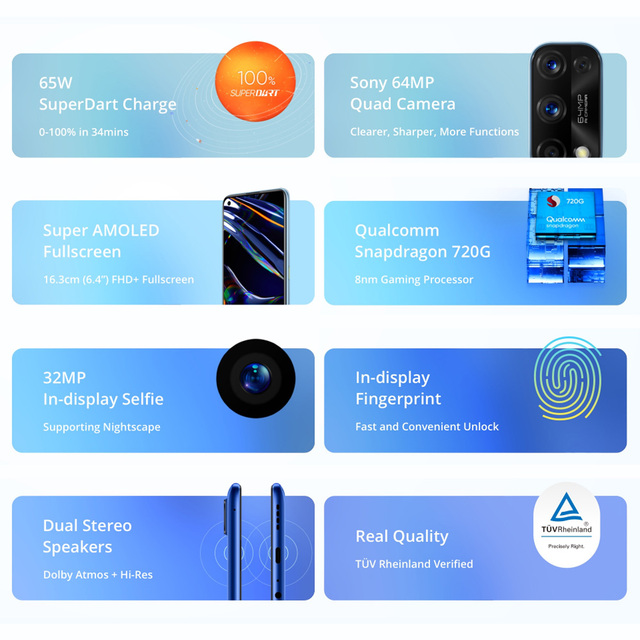 realme 7 Pro NFC Smartphones 64MP 8GB 128 GB 65W Fast Charge 4500mAh Smart Mobile Phone Snapgragon 720G androidGaming Cellphones 2