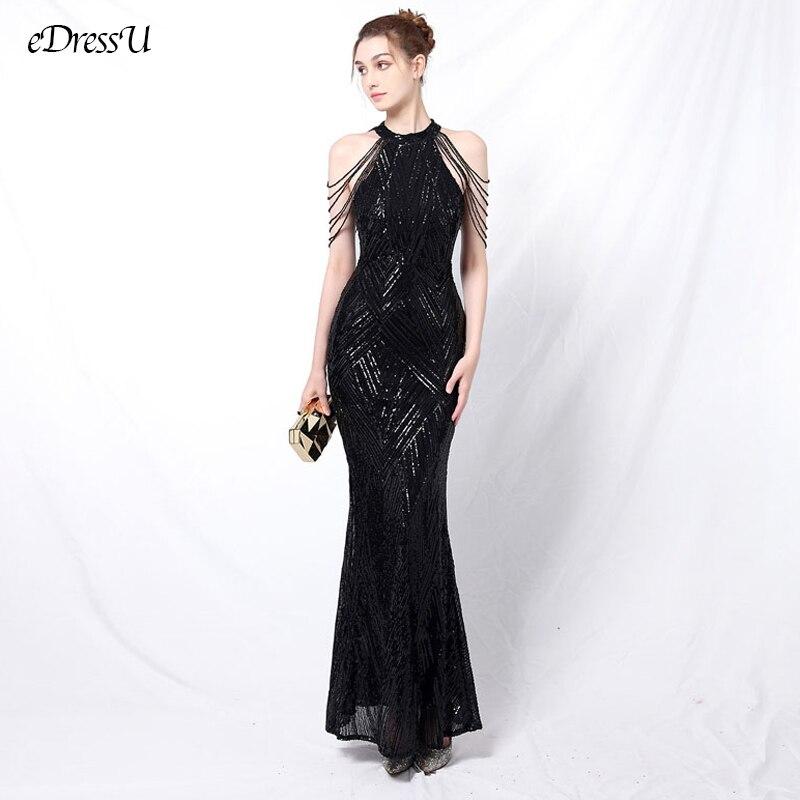 Gliter Beading Evening Dress Elegant Halter Evening Party Dress Sequin Long Dress Vestido de Fiesta Mermaid Prom Dress YNY-18126