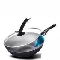 Wok Non stick Pan Household Wok Less Oil Smoke Iron Pot Induction Cooker Gas Universal Kitchen Pot Frying Pot Cast Iron