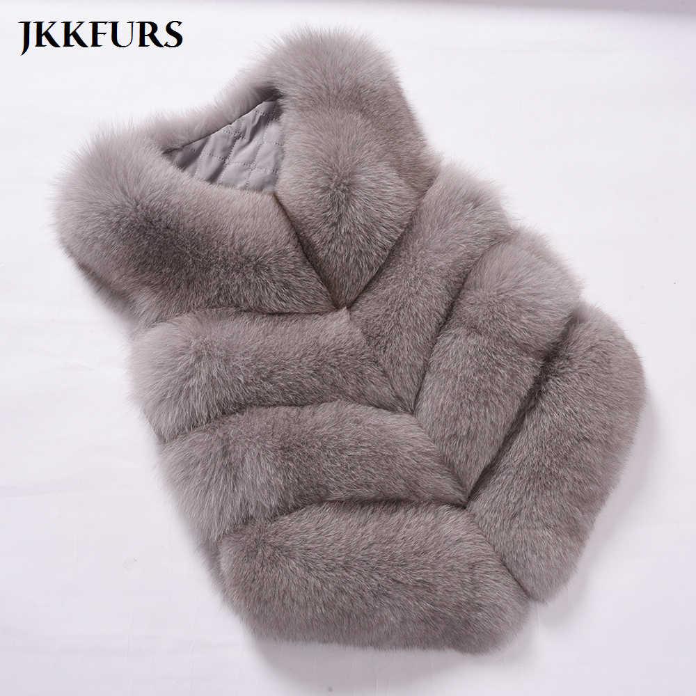 JKKFURS 2019 yeni moda kadın 4 satır kürk yelek gerçek yumuşak kalın tilki kürk yelek Lady kış hakiki jile s1677