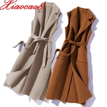 Sleeveless Jacket Long-Vest Woolen Plus-Size Women New-Fashion Outerwear V-Neck Autumn