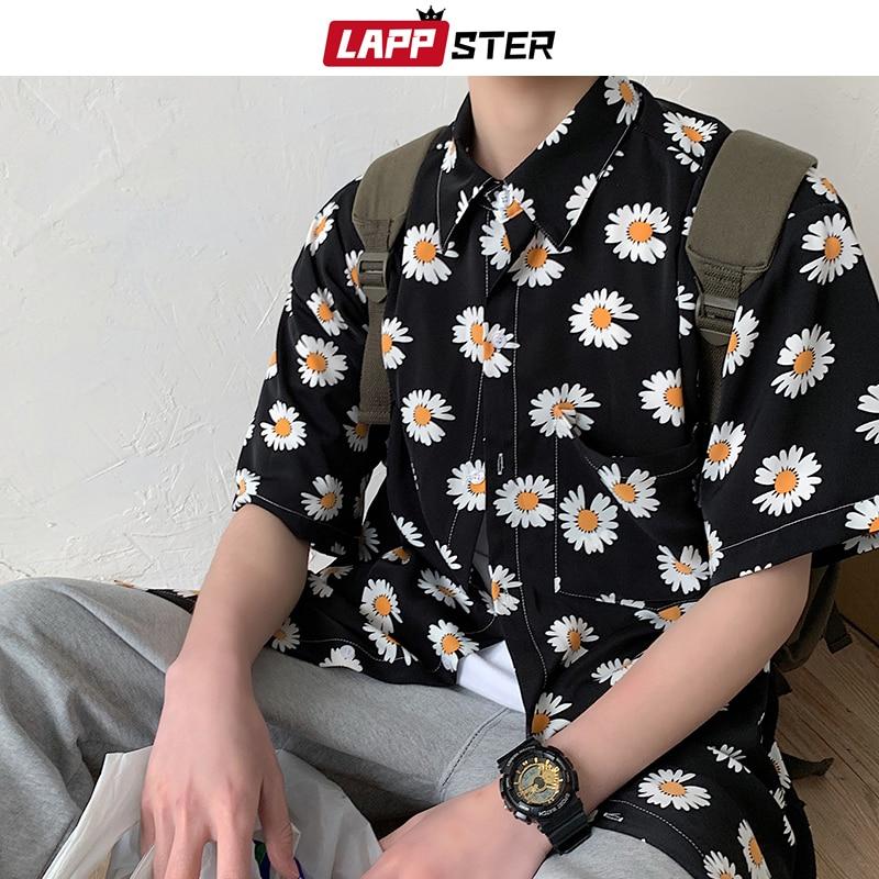 LAPPSTER Men Flowers Harajuku Korean Shirts Short Sleeve 2020 Summer Women Hawaiian Streetwear Blouses Button Up Shirt Plus Size