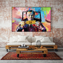 Pintura em tela arte lobo da parede rua leonardo dicaprio dinheiro cartaz e impressão para sala de estar decoração sem moldura