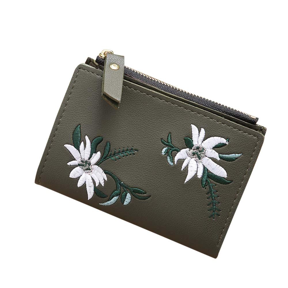 MAIOUMY 1PC Wallet Women Embroidery Zipper Short Coin Purse Wallet Card Holders Handbag Coin Purse Keys Holder Wallet Money Bags