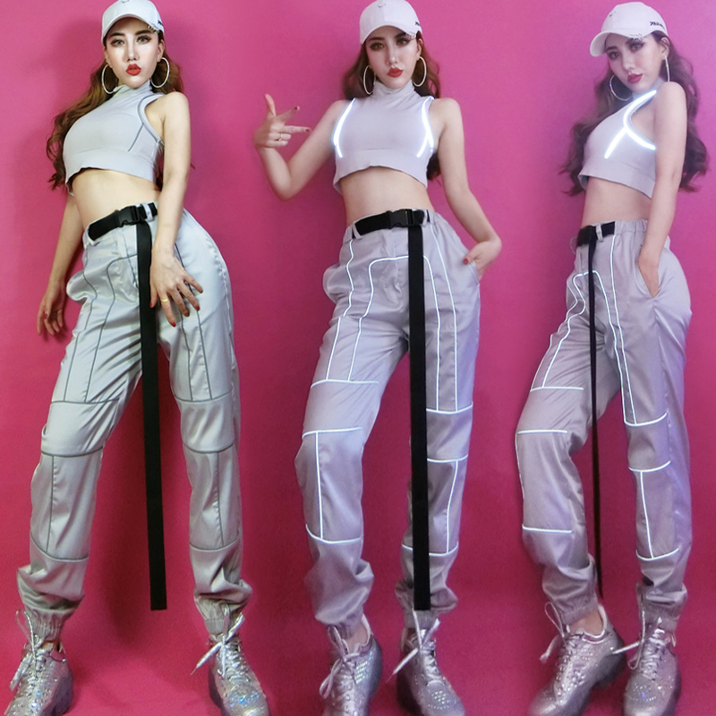 Adults Hip Hop Costumes Sexy Reflective Pants Stage Outfits Women Street Dance Clothes Nightclub Bar Performance Wear SL2400