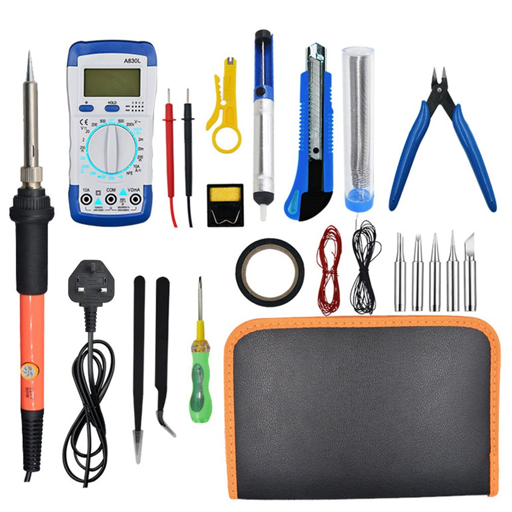 21PCS 60W Adjustable Electric Soldering Iron Kit With A830L Multimeter Inner Heat Welding Solder Pencil Repair Tool Pen
