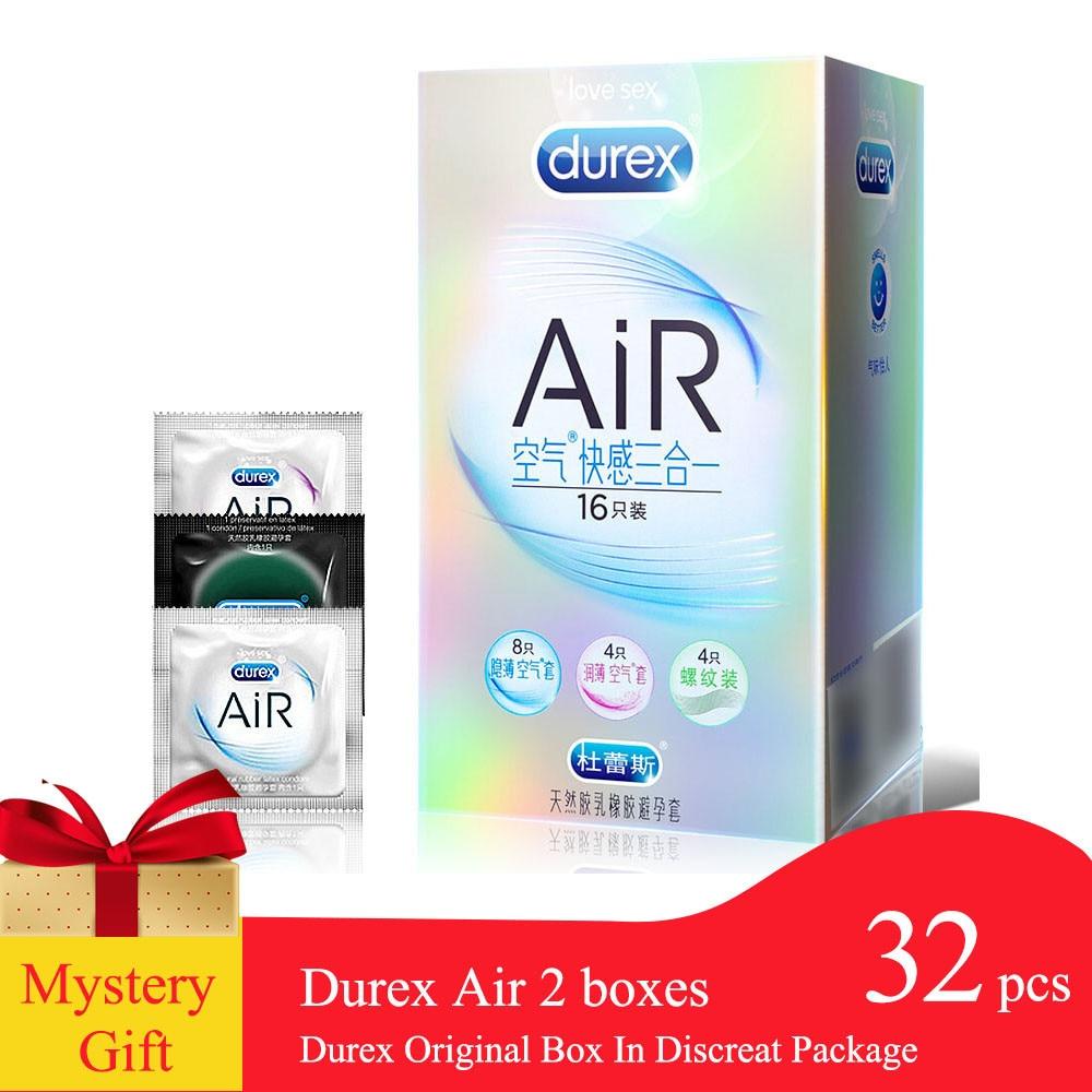 Durex AiR 3in1 Condoms Ultra Thin Super Sensitivity Condones Smooth Penis Sleeve Sex Toys for Men Ejaculation Delay 20/42pcs/box