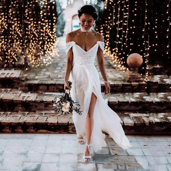 Boho Lace Tulle Wedding Dresses Cap Sleeves V-Neck 2020 Sexy Backless Beach Bridal Gowns Country Mariage vestido de noiva 2015 new romantic white mermaid wedding dresses lace bridal gowns cap sleeve backless buttons v neck vestido de noiva w3567