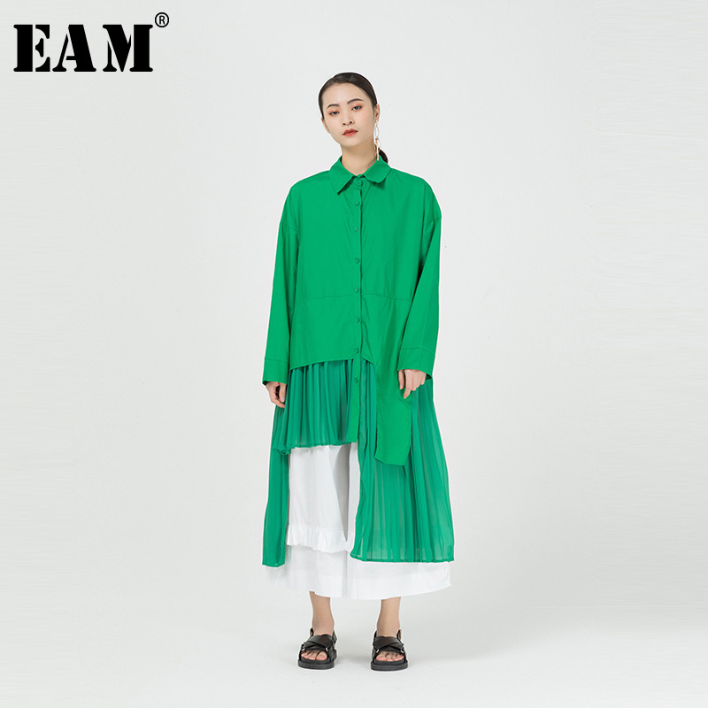 [EAM] Women Green Irregular Pleated Big Size Long Blouse New Lapel Long Sleeve Loose Fit Shirt Fashion Spring Summer 2020 1R089