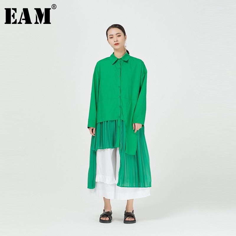 [EAM] Women Green Irregular Pleated Big Size Long Blouse New Lapel Long Sleeve Loose Fit Shirt Fashion Spring Summer 2020 1R089