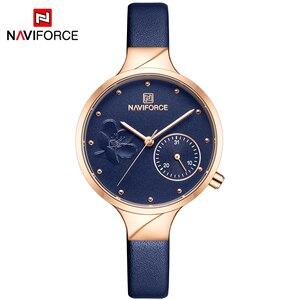 Image 2 - NAVIFORCE Women Fashion Blue Quartz Watch Lady Leather Watchband High Quality Casual Waterproof Wristwatch Gift for Wife 2019